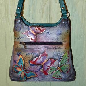 Anuschka Leather Butterfly Satchel & Wallet EUC